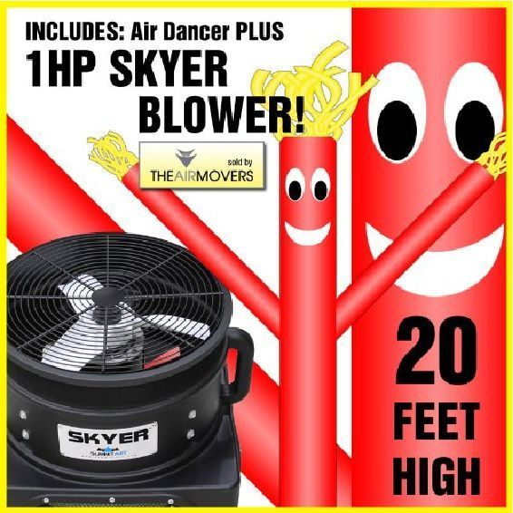 Inflatable Puppet 20FT Red Air Sky Dancing Wacky Waving Fly Guy Tube Windy Man #Skyer