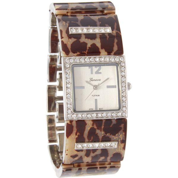 Geneva Platinum Leopard & Silver Bracelet Watch ($9.99) ❤ liked on Polyvore featuring jewelry, watches, platinum watches, silver wrist watch, platinum jewelry, geneva watches and silver watches