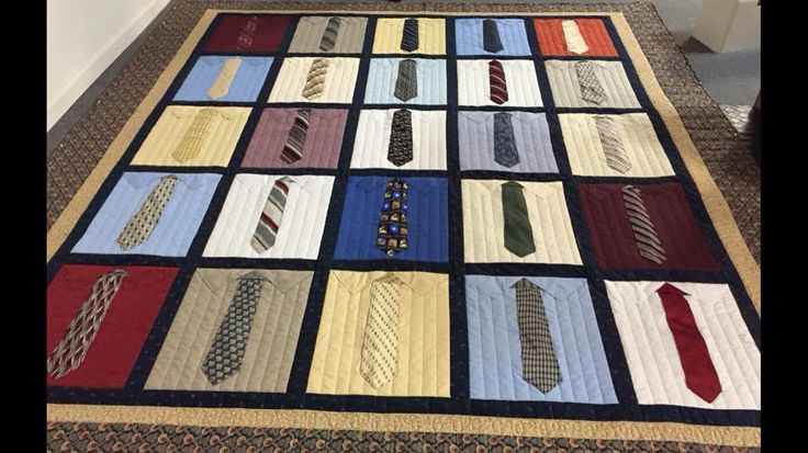 Shirt and tie quilt made from 15x18 inch blocks of men's shirts and ties