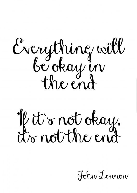 Kaart Everything will be okay Ansichtkaart met quote van John Lennon Everything will be okay in the end. If it's not okay, it's not the end.
