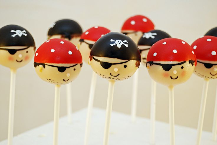 Pirate cake pops! - Pirate cake pops to go with the treasure chest cake I made for my sons birthday party. Arrrrr!