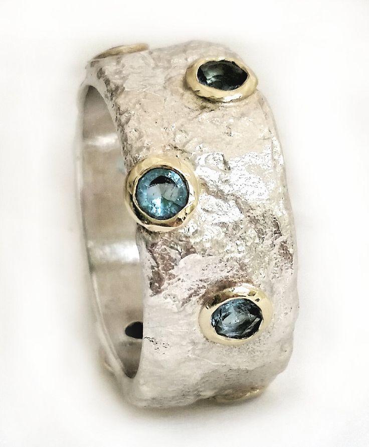 Conjunto de anillo popular artesanal plata con topacio azul