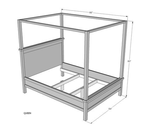 Ana White   Build a Saving Alaska Farmhouse Canopy Bed   Free and Easy DIY Project and Furniture Plans