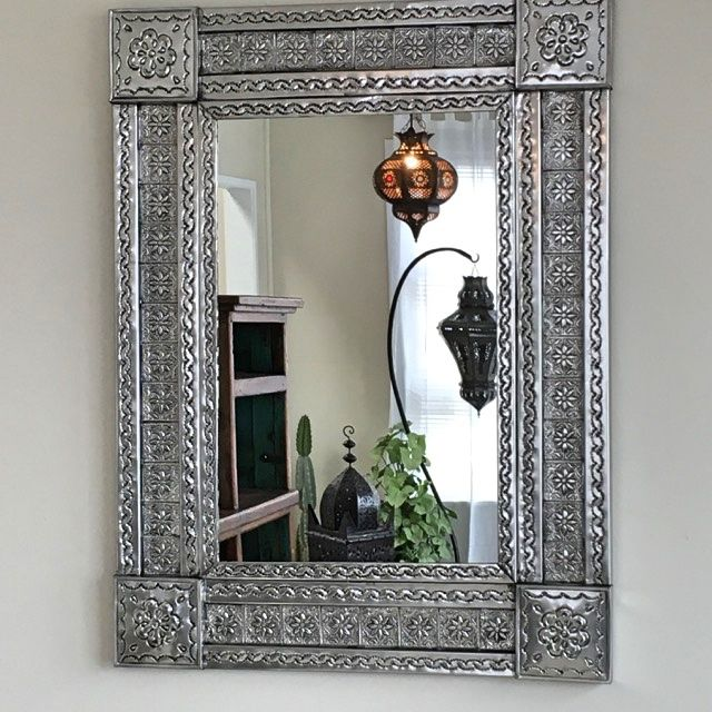 840mm high x 635mm wide.  A gorgeous hand punched tin mirror from Mexico. Very ornate and can be hung either landscape or portrait.  Not available to be couriered sorry, due to fragile mirror glass.