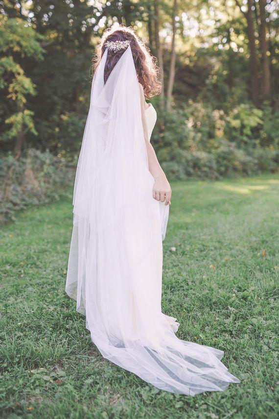 draped veil boho bridal veil bohemian veil soft tulle veil