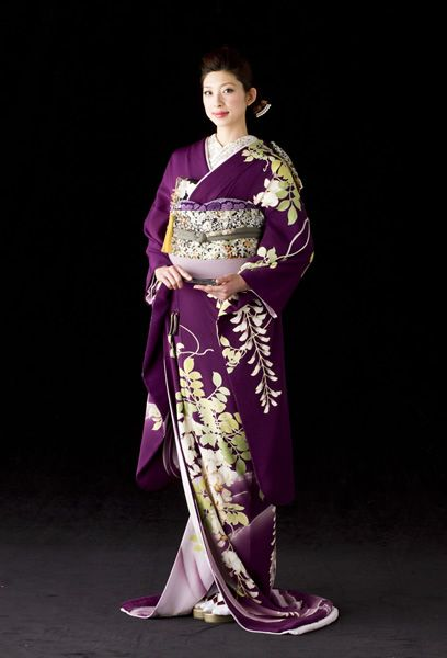 Deep Purple Hiki Furisode with Wisteria Print …