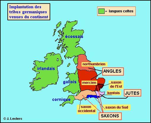 Implantation des tribus germaniques venant du continent ...