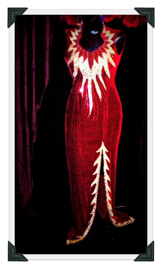 Blood red velvet showgirl dress w/ silver by RockabillyDreaming, $139.99