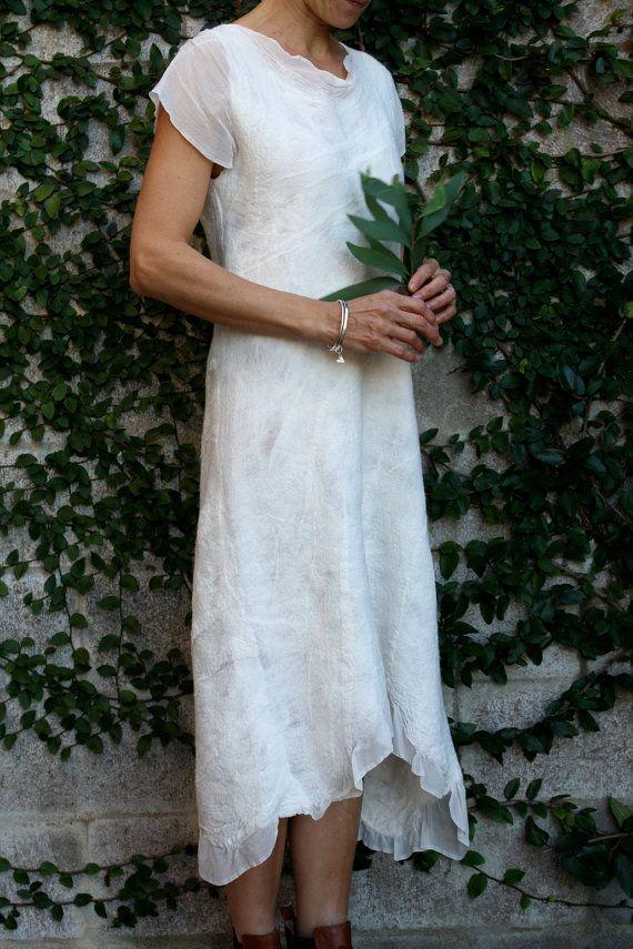 Unique white silk nuno felt dress with capped by GinaMastio