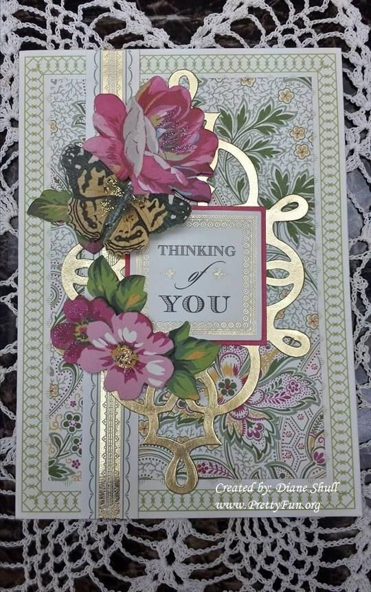 Thinking of you card created by Diane Shull using Anna Griffin card making kit.