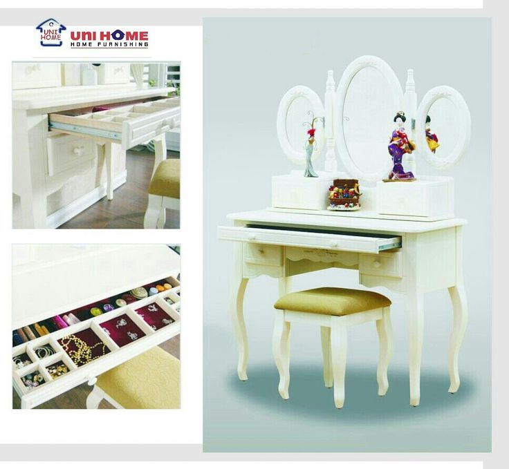 Choose which dressing table will help make you beautiful each day with this range of convertible dressing table. Inside compartments are lined with felt to protect jewelry and cosmetics. A practical choice for furniture picking using #multifunction pieces from #unihomefurniture ♥♥♥  DS 103 dressing table Width: 100 cm Depth: 40 cm Height: 143 cm