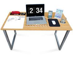 SlatePro - Tech Desk by iSkelter has the signature laptop ventilation top, now with a built in mousepad, dry erase board and a drink holder. #desk #YankoDesign