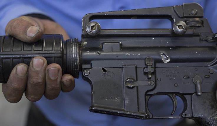 An example of a weapon used by an anti-ISIS militia. This particular weapon had been found in the remnants of an ISIS controlled position after a coalition bombing. This particular weapon has two gaping holes in it, but the militia has no other choice but to field it.