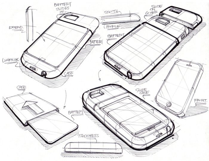 nice geometric construction sketch of a candy bar smartfone.