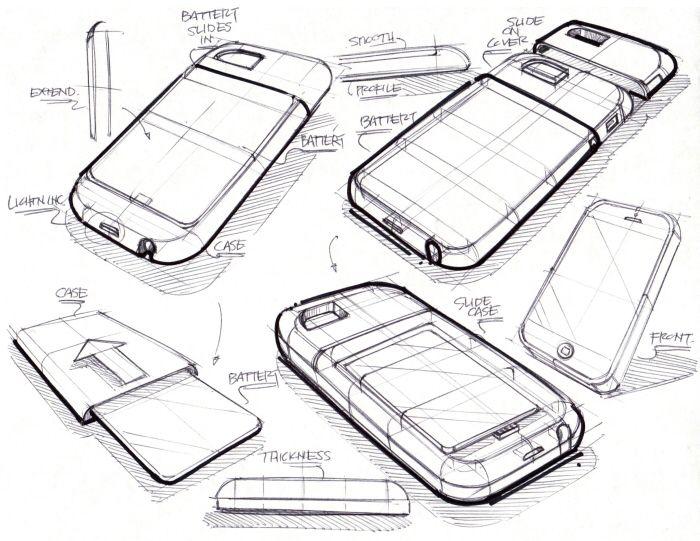 nice geometric construction sketch of a candy bar smartfone.
