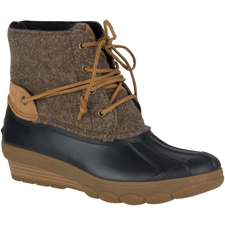 SPERRY Women's 6 in. Saltwater Wedge Tide Wool Duck Boots, Brown/Canteen