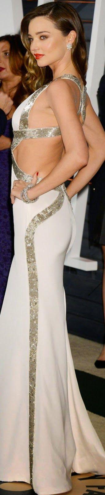 Miranda Kerr 2015 Vanity Fair Oscar Party SILVER.black/white/GOLD BELLADONNALUXEDESIGNS