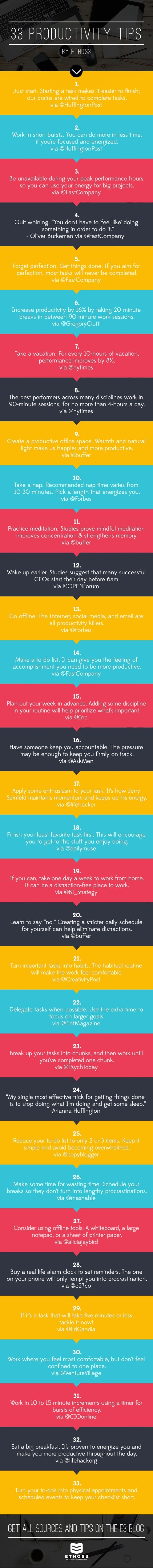 33 Productivity Tips, in 140 Characters or Less by Ethos3   Presentation Design and Training via slideshare