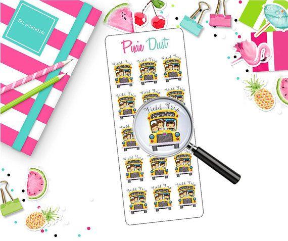 School Bus FIELD TRIP sticker Happy Planner by PixieDustsvg