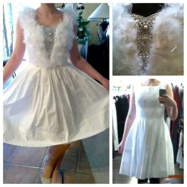for anyone interested this is what me and my friend made for pennys dress! She bought a plain white dress at goodwill and then we cut it down to a sweetheart neckline and glued feathers and jewels all over the front and along the back trailed down the feathers. Then we made a headband with feathers sticking up in all directions like a crown and added a petticoat underneath and black tights and black flats for show nights