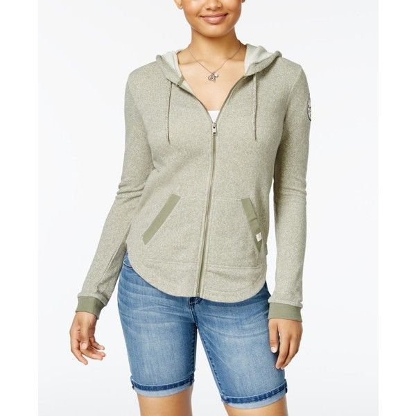 Roxy Juniors' Hawser Patch Zip-Up Hoodie ($50) ❤ liked on Polyvore featuring tops, hoodies, light green, white hoodies, roxy tops, white zip up hoodies, roxy hoodies and white zip up hoodie