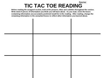 tic tac toe template for teachers - tic tac toe reading strategy power point worksheet