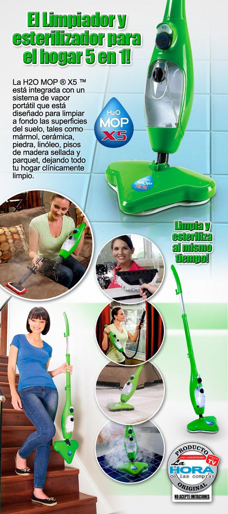 El limpiador de vapor H2O Mop limpia a fondo, desinfecta y desodoriza cada rincón de tu hogar gracias a su extraordinario poder de limpieza.