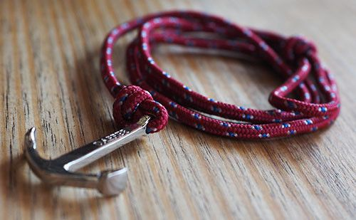The Art Red Silver Anchor & Rope Bracelet