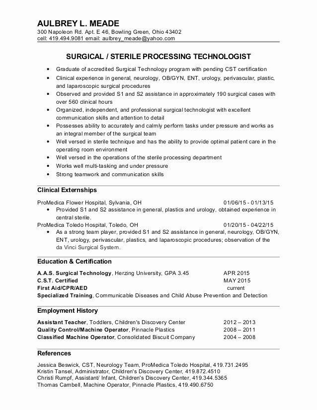 Surgical Technician Resume Example Luxury Aulbrey Meade Surgical Tech Resume In 2020 Surgical Tech Surgical Technologist Resume Examples