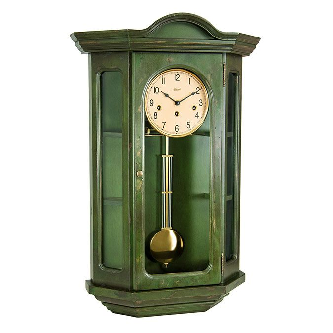 Hermle FAULKNER Dark Green Wall Clock 70305-DG0341 - Curio wall clock in a dark green finish with a mechanical 8 day Westminster chiming movement.