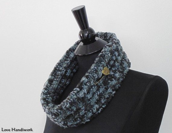 Black Grey & Charcoal Cowl Scarf Neck Warmer by LoveHandyWork