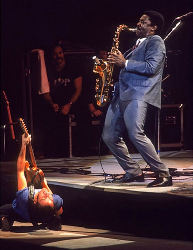 Clarence Clemons carries Bruce Springsteen on his shoulder during a performance in 1978.    RELATED    - Story :   E Street Band's Clarence Clemons Dies at 69      - Story :   Bruce Springsteen on Clarence Clemons: 'His Loss is Immeasurable'