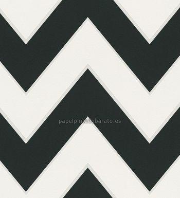 papel pintado zig zag negro