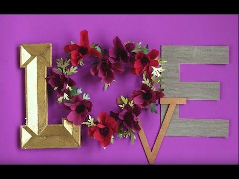 DIY Flower Heart Wreath Tutorial with Paper Flowers