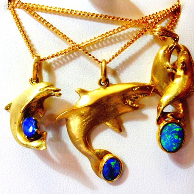 Opal animal pendants