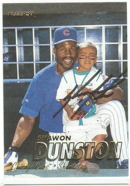 Shawon Dunston Chicago Cubs Autographed 1997 Fleer Card