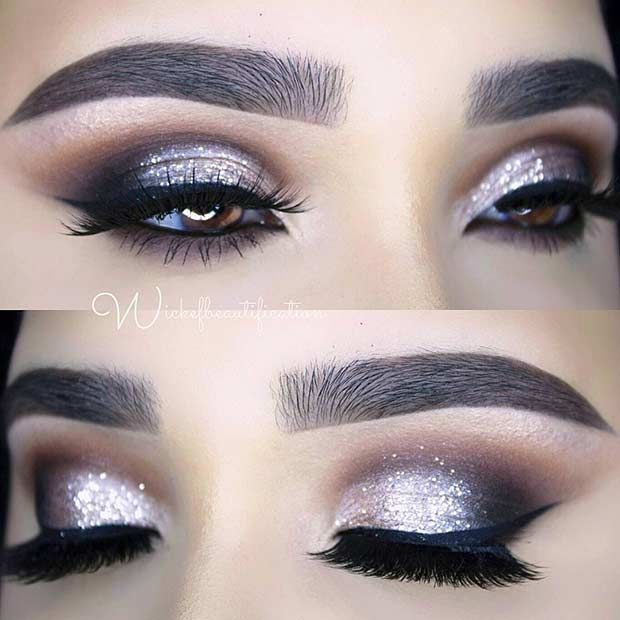 Smokey Glitter Eye Makeup Look for New Years Eve