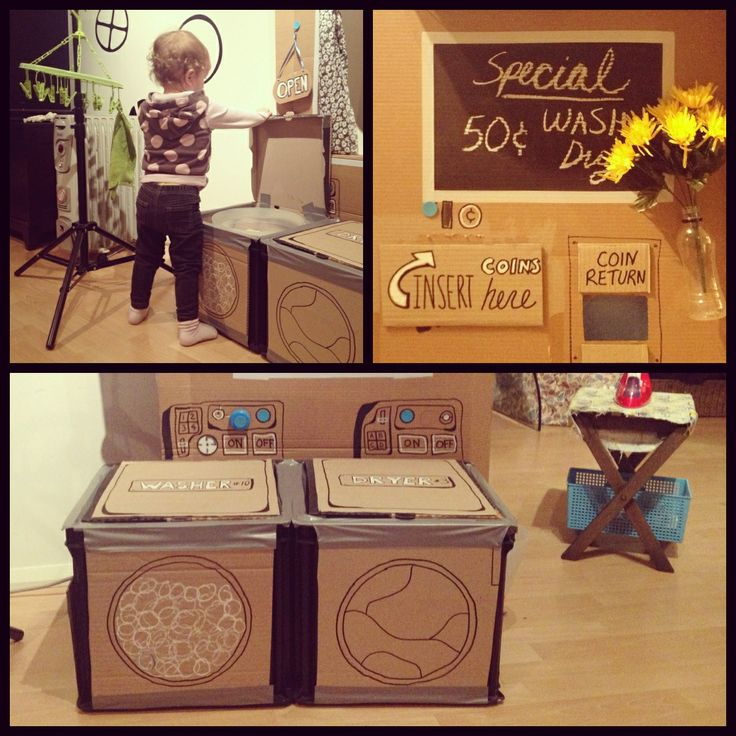 Cardboard DIY child dramatic play pretend laundry day ...