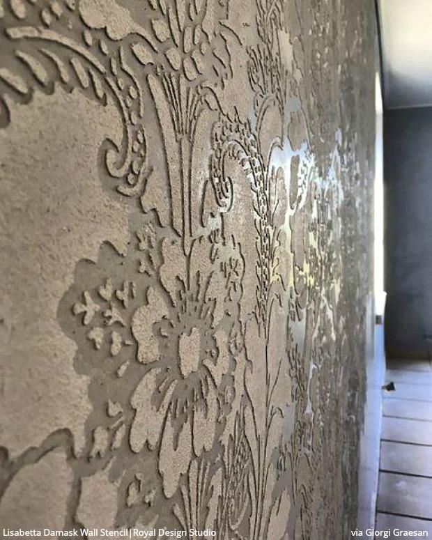 Raise Your Style To New Heights With Stencil Embossing Damask Wall Stencils Plaster Wall Art Stencil Painting On Walls