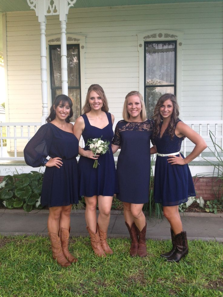 I kind of like this color. It might be a nice neutral agains the golds and oranges in the flowers and decorations. I like the length of all these dresses too looks cute with the boots Navy bridesmaids dress with cowboy boots