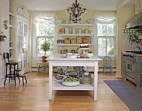 Country Living Swedish Style in a Maryland FarmhouseOpen Shelves, Dreams Kitchens, Modern Country, Country Living, Islands, Country Home Decor, Swedish Style, Farmhouse Kitchens, Country Kitchens