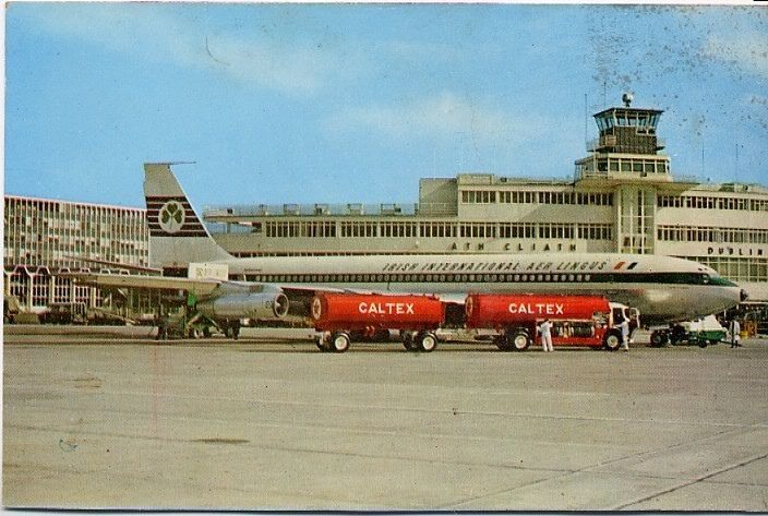 Aer Lingus Boeing 707 parked in front of the old terminal building.