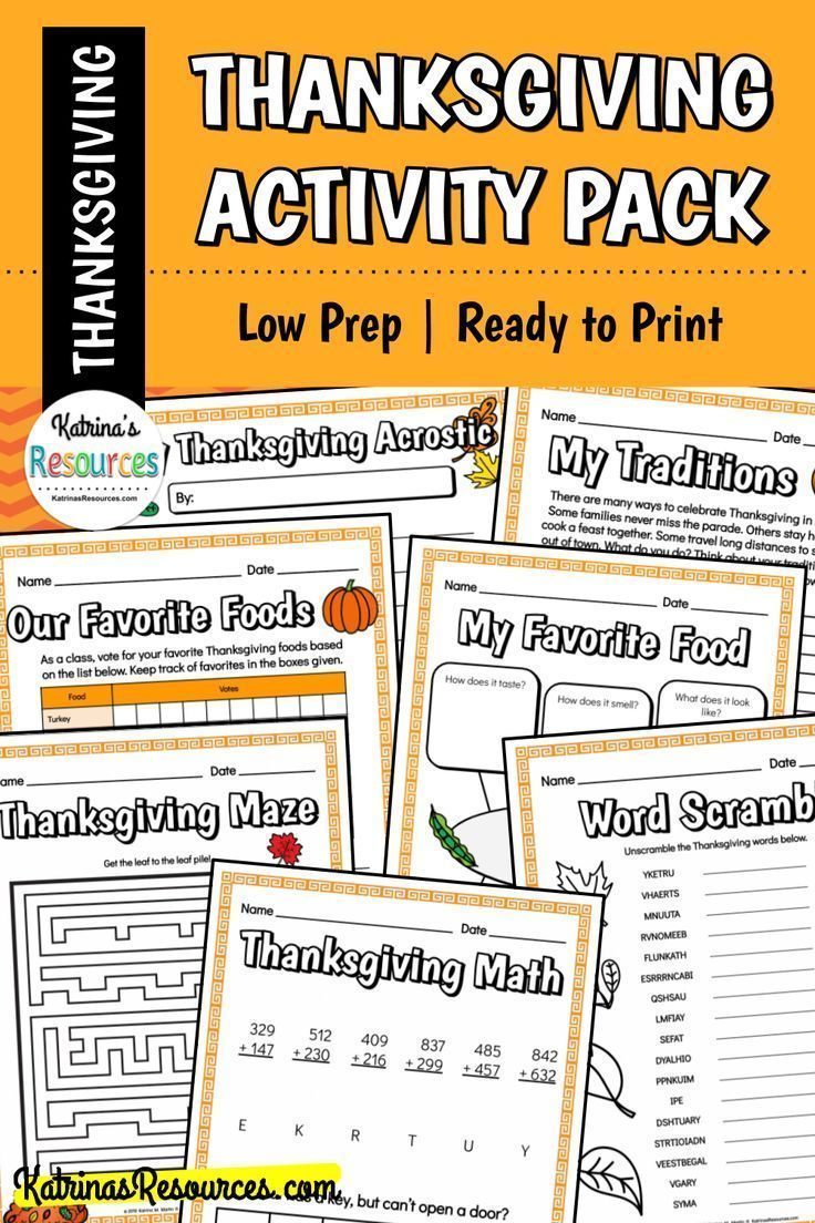 No Prep Thanksgiving Activity Pack For Elementary Students In 2020 Thanksgiving Activities Thanksgiving Worksheets Morning Work Activities