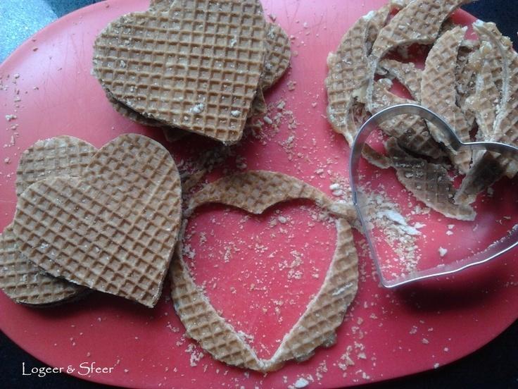 Voor iedereen die gek is op stroopwafels en hartjes; heel eenvoudig te maken en leuk effect!