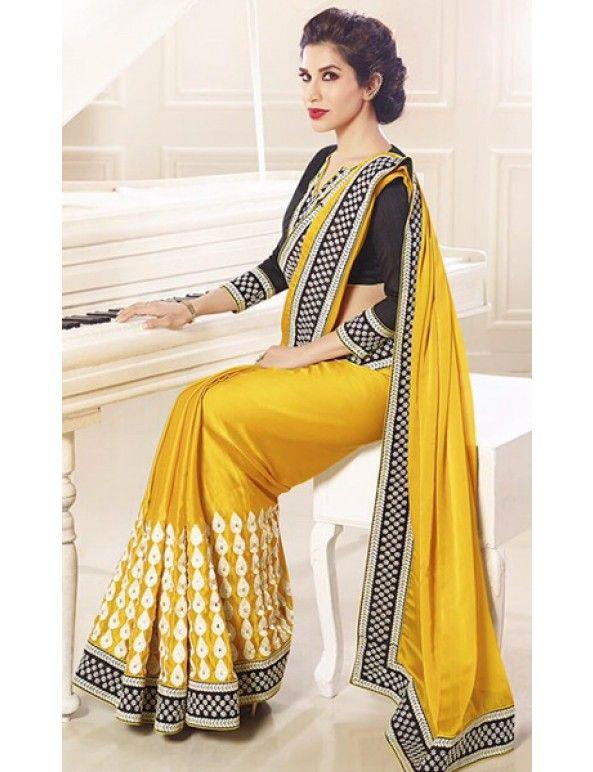 Yellow And Black Satin Chiffon Embroidered Saree
