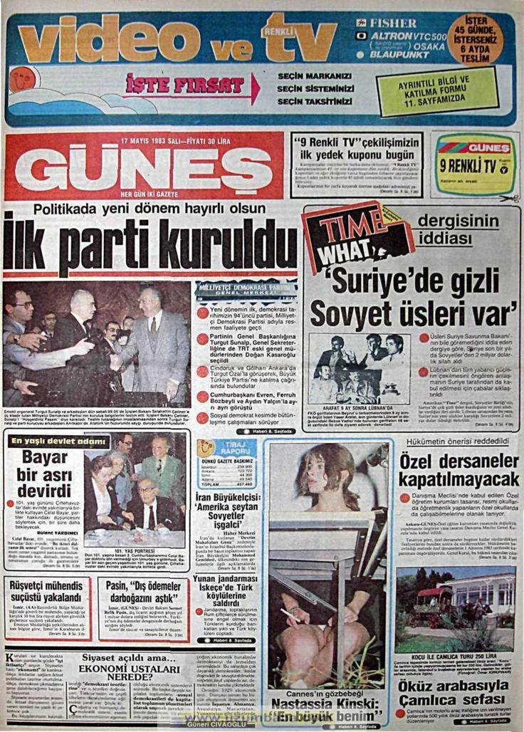 Güneş gazetesi 17 mayıs 1983