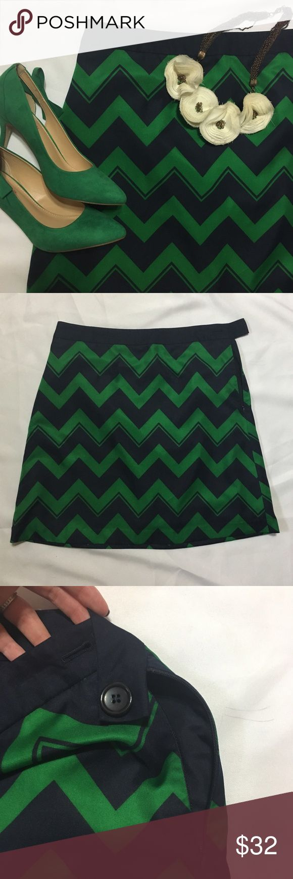 Navy Blue & Green Chevron Skirt Like new, hardly worn! No signs of wear. Zipper and button are on side and super cute! The Limited Skirts A-Line or Full