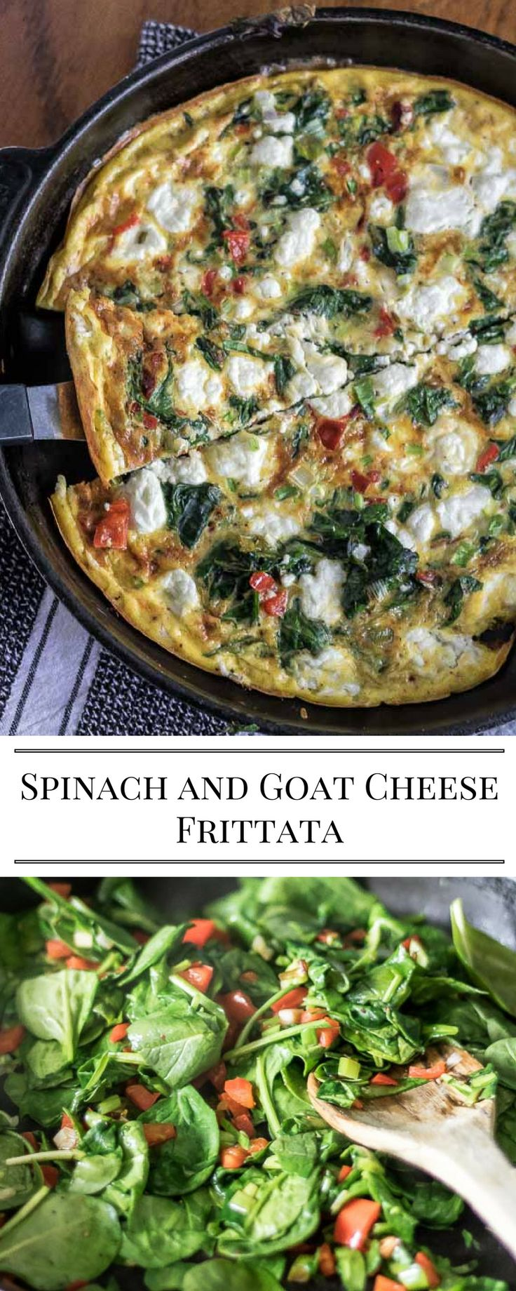 I love frittatas! They are quick, nutritious and packed full of veggies. Great for a quick dinner or a holiday morning breakfast or brunch.  Spinach and Goat Cheese Frittata