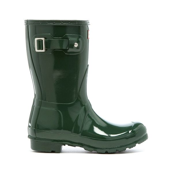 Hunter Women's Original Short Gloss Wellies - Hunter Green (£80) ❤ liked on Polyvore featuring shoes, boots, green, green boots, bootie boots, lined rubber boots, wellies boots and green knee high boots
