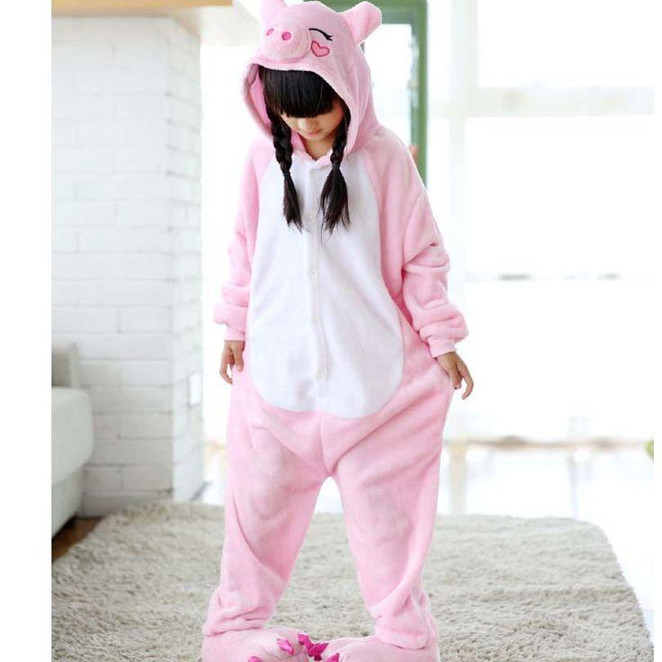 Pink Pig Overalls Jumpsuit Kids Pijama Pockets Children Cosplay Costume Kigurumi Onesie Blanket Sleepers Pajama Hips With Zipper